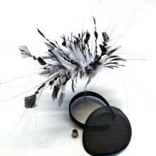 Black and White Hackle, Stripped Coque and Ostrich Feather Mount
